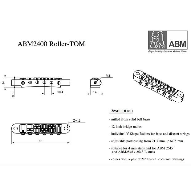 NEW ABM Germany 2400-G Tune-o-matic Bridge, Roller Saddles Nashville Style  - GOLD