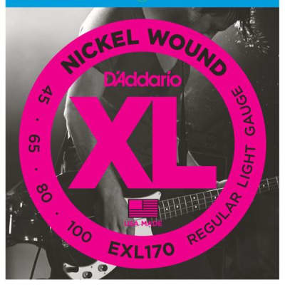 D'Addario EXL170 Nickel Wound Bass Strings, Light, 45-100