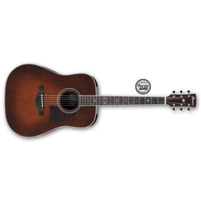 Ibanez AVD10 Thermo Aged Dreadnought Acoustic, Brown Violin Sunburst for sale