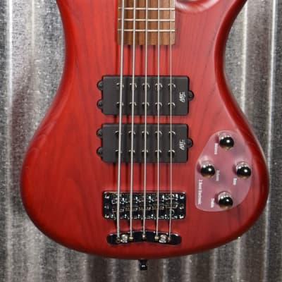 Warwick Rockbass Corvette $$ Double Buck Burgundy 5 String Bass & Bag #1018