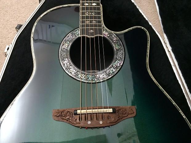 Ovation Custom Legend Single Cut Away Acoustic Electric, model 1769,  Transparent Green Burst