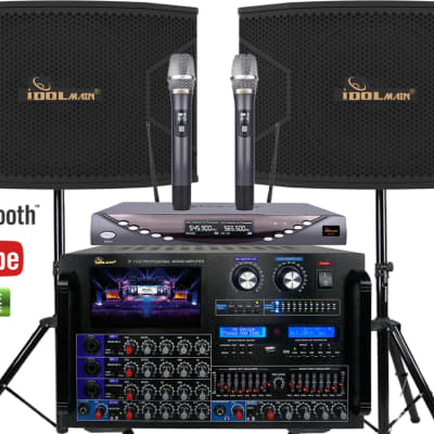 8000W Console Mixing Amplifier with 1500W 12-inch Speakers And Dual Wireless Mics