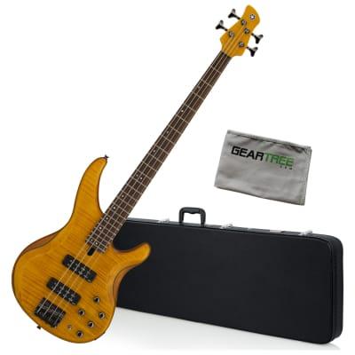 Yamaha TRBX604FM 4-String Matte Amber Electric Bass Bundle w/Case and Cloth