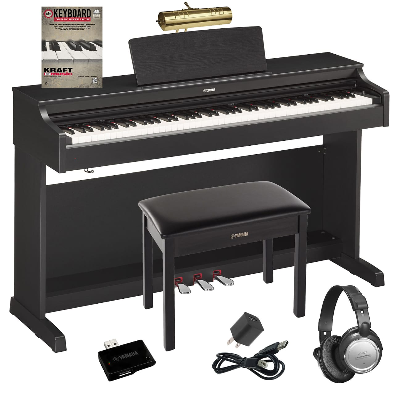 yamaha arius ydp 163 digital piano black walnut complete. Black Bedroom Furniture Sets. Home Design Ideas