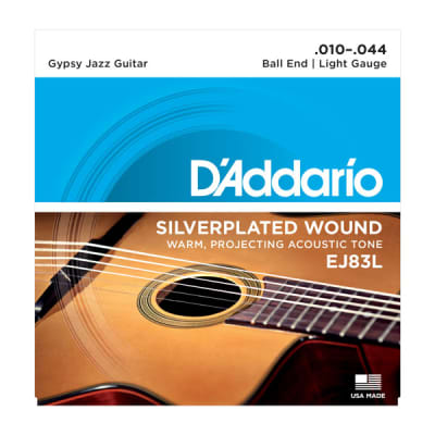 D'Addario Gypsy Jazz Acoustic Guitar Strings Set Ball End, Silver Wound Light Gauge 10-44