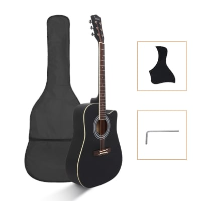 Glarry GT502 Dreadnought Folk Guitar Acoustic Guitar With Bag Black for sale