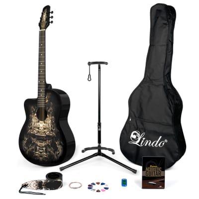 Lindo Left-Handed Alien Black Acoustic Guitar & Full Accessory Pack for sale