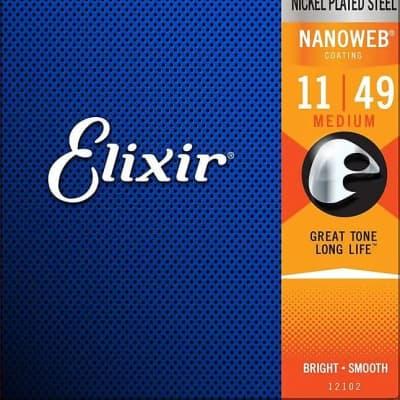 Elixir 12102 Nanoweb Nickel Plated Steel Electric Guitar Strings - Medium (11-49)