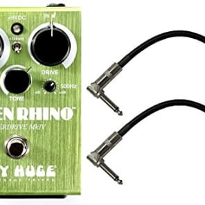Dunlop WHE207 Way Huge Green Rhino MKIV Mini Effects Pedal With a Pair of Patch Cables