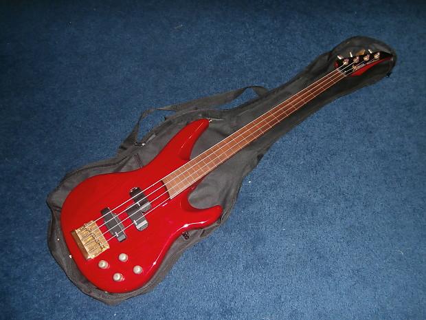 Vintage 1990s Yamaha RBX800AF Fretless Bass Guitar Rare Transparent Red