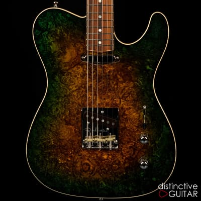 Fibenare Roadmaster 56 Forest Green - Burl Top - Flame Maple Neck for sale
