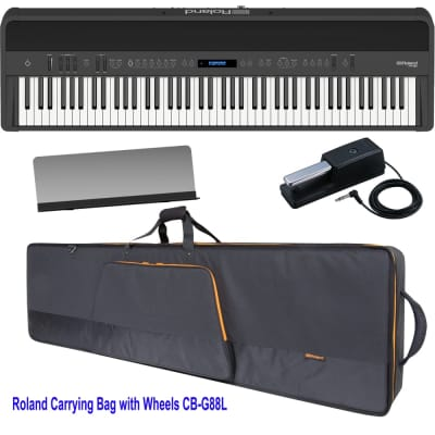 Brand New Roland FP-90 Black Portable Stage Piano 88 Weighted Key with Roland Carrying Bag with Wheels - CB-G88LV2