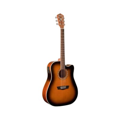 Washburn Harvest Series WD7SCEATB Dreadnought Cutaway Acoustic-Electric Guitar Tobacco Burst for sale