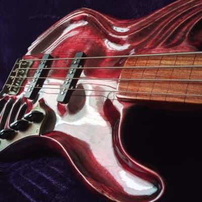 """Custom handmade sculpted fretless jazz bass """"Blood red"""""""