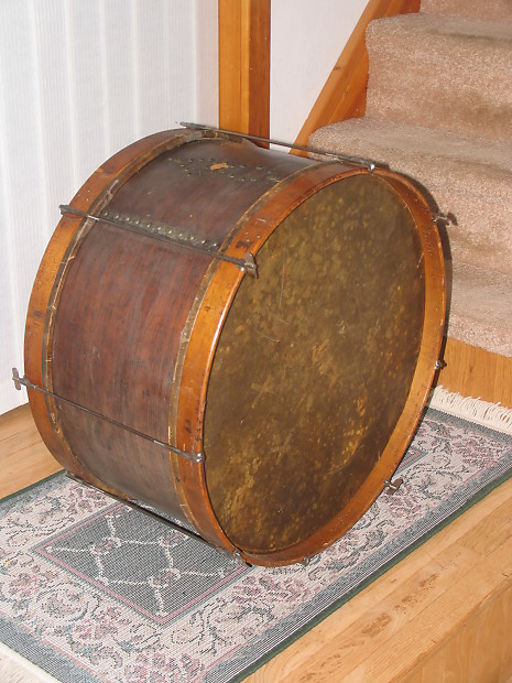 unknown military style bass drum vintage natural mahogany reverb. Black Bedroom Furniture Sets. Home Design Ideas