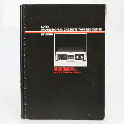 Studer A170 Cassette Tape Recorder Original Service Instructions Manual #39743