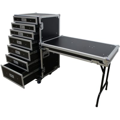 Harmony Cases Portable Rolling 7 Drawer Production Vendor Show Work Case Table