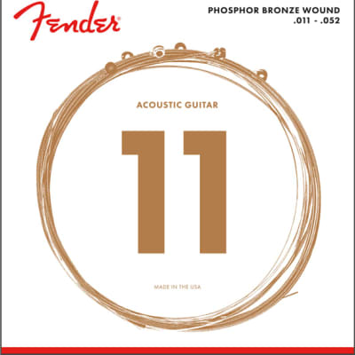 Fender Phosphor Bronze Acoustic Guitar Strings, Ball End, 60CL .011-.052 Gauges, (6) 2016