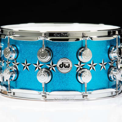 DW Collector's 7x14 Snare - Silver Leaf Stars on Candy Metallic Blue