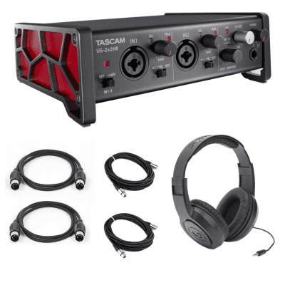 New Tascam US-2x2HR Desktop 2x2 USB Type-C Audio/MIDI Interface Bundle + Studio Monitor Headphones