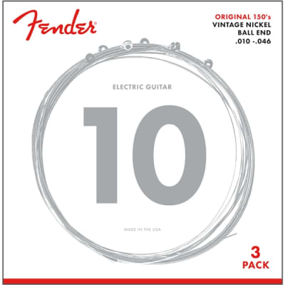 Fender 150 Original Pure Nickel Wound Guitar Strings - Ball End, 10-46, 3 Pack for sale