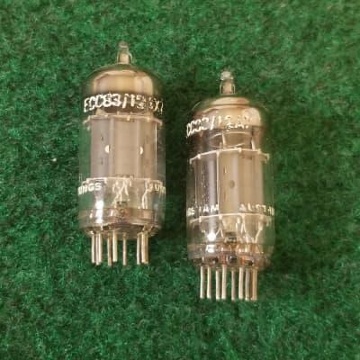 Pair 1960s Tungsram ECC83/12AX7A Dual Support Getter Preamp Tubes TEST VSTG++/BAL