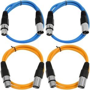Seismic Audio SAXLX-2-2BLUE2ORANGE XLR Male to XLR Female Patch Cables - 2' (4-Pack)