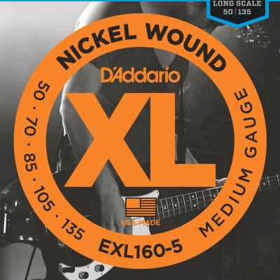 D'Addario Medium, 50-135, Long Scale Electric Bass 5 Strings EXL160-5