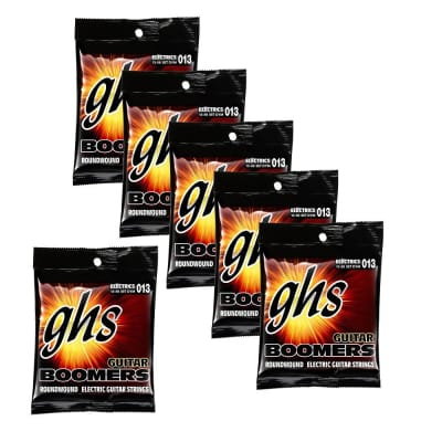 6-Pack GHS Electric Boomers DYM Medium Electric Guitar Strings with Wound 3rd (13-56)