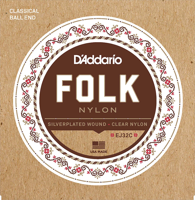 D'Addario EJ32C Folk Nylon Guitar Strings, Ball End, Silver Wound/Clear Nylon T