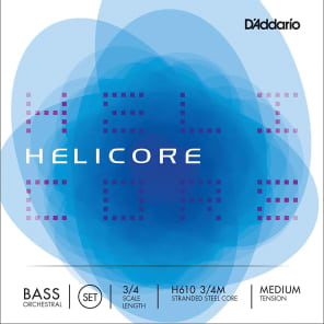 D'Addario H610 3/4M Helicore Orchestral Series 3/4-Scale Double Bass String Set - Medium Tension
