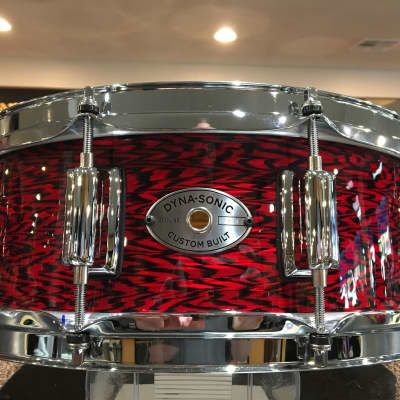 "Rogers 5x14"" Dyna-Sonic Custom Built Maple Snare Drum in Red Onyx Finish"