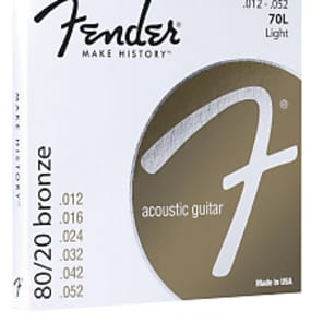 Fender Light 80/20 Bronze Acoustic Strings Ball End, 70L 12-52 for sale