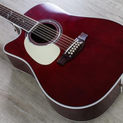 Takamine John Jorgenson 12-String Acoustic-Electric Guitar Left-Handed Red +Case