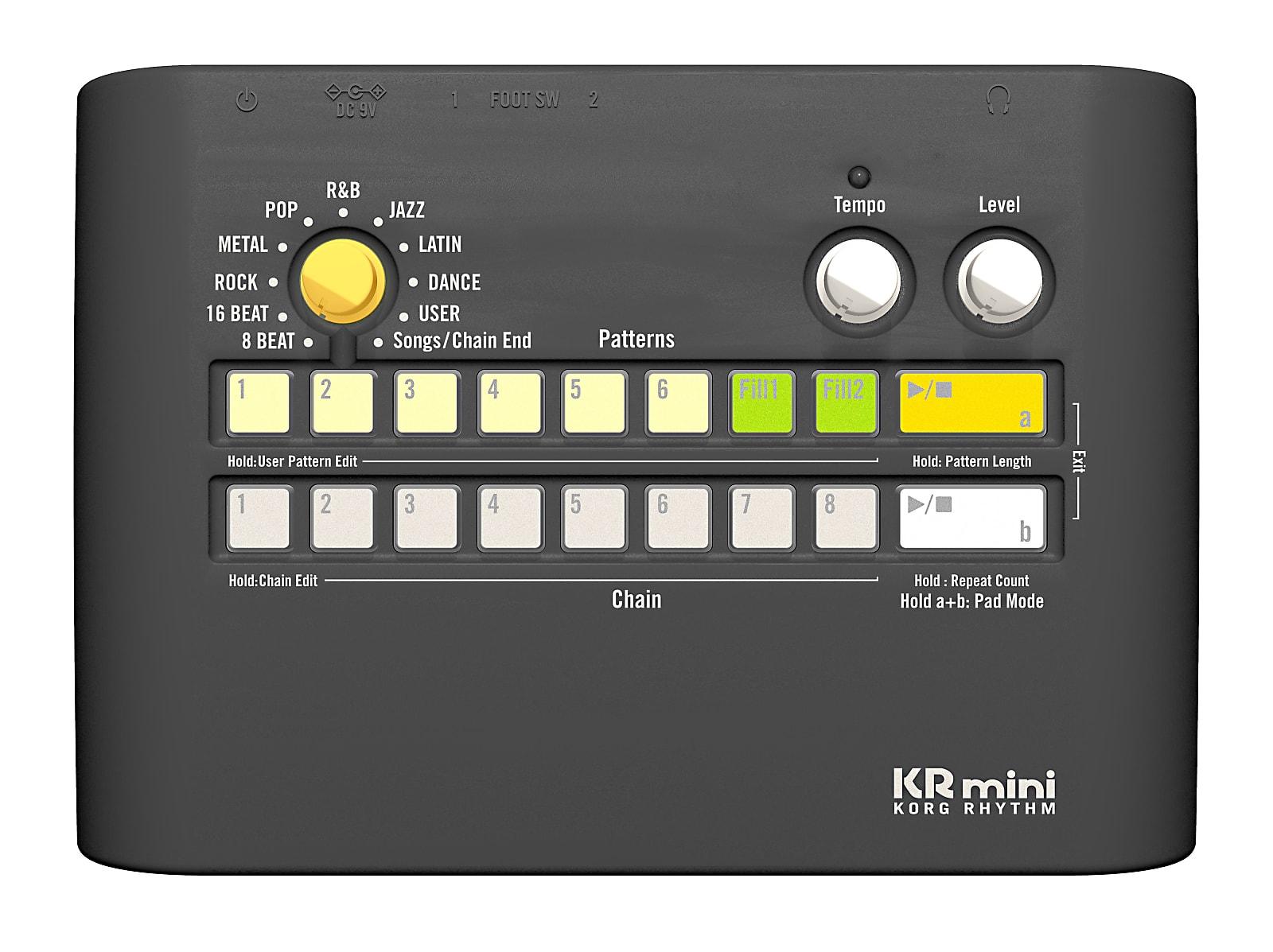 Korg KR Mini Compact Battery-Powered Rhythm Drum Machine w/ Speaker