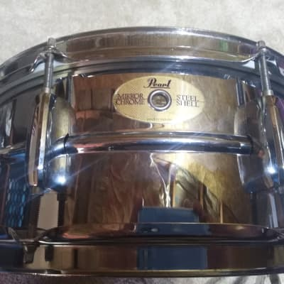 """Pearl Mirror Chrome Steel Shell Snare 1990's Chrome 5.5X14"""""""