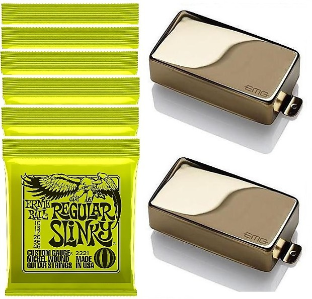 emg 81 85 gold active humbucker guitar pickup set short reverb. Black Bedroom Furniture Sets. Home Design Ideas
