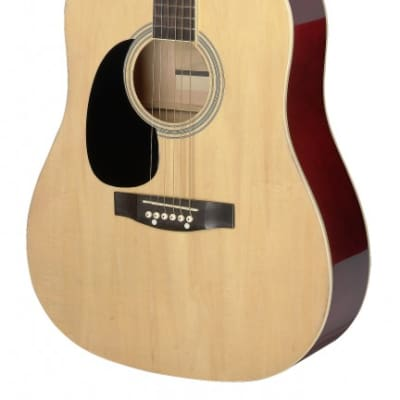 Stagg SA20D 3/4 LH-Natural Dreadnought Acoustic Guitar w/ Basswood Top, Left-Hand