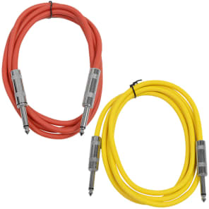 """Seismic Audio SASTSX-6-REDYELLOW 1/4"""" TS Male to 1/4"""" TS Male Patch Cables - 6' (2-Pack)"""