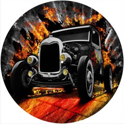 "2 x Slipmats Scratch Pads Felt for 12"" LP Record Players Vinyl DJ Turntables *Hot Rod Car 1"