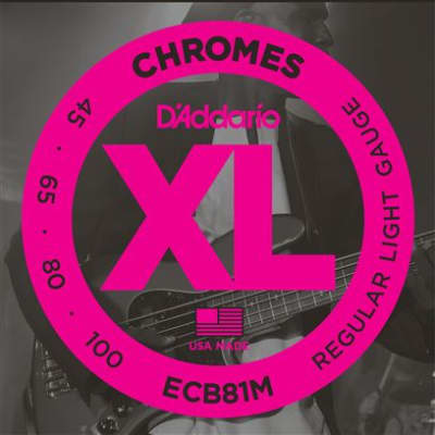 D'Addario ECB81M XL Chromes Flatwound Electric Bass Guitar Strings