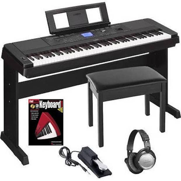 Yamaha dgx660b 88 weighted key digital piano keyboard bundle reverb for Yamaha fully weighted keyboard