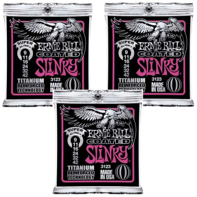 3 Pack Ernie Ball 3123 Coated Super Slinky Titanium Electric Guitar Strings 9-42