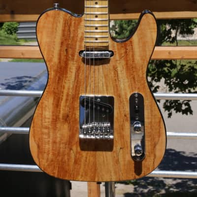 Fishbone Spalted Maple Tele ThinLine Solid Body Guitar Telecaster style Superb Tone image