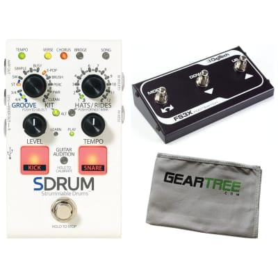 Digitech SDRUM Strummable Drums Automatic Drummer Pedal w/ FS3X Footswitch and Cloth