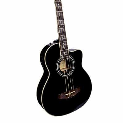 De Rosa GAB475-BK Spruce Top Mahogany Neck Cutaway 5-String Acoustic-Electric Bass Guitar - Black for sale
