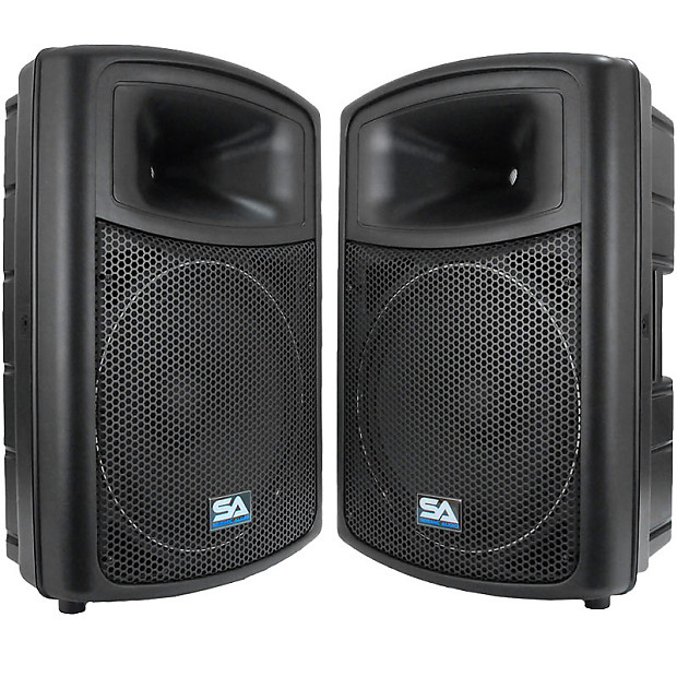 2 seismic audio 15 molded pa speakers speaker system reverb. Black Bedroom Furniture Sets. Home Design Ideas