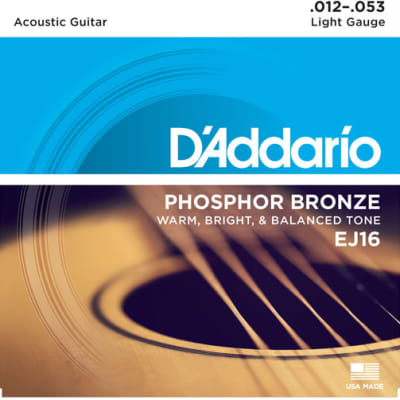 D`Addario EJ16-3D 3-Pack of Light Phosphor Bronze Acoustic Guitar Strings