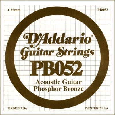 D'Addario PB052 Phosphor Bronze Wound Acoustic Guitar Single String .052