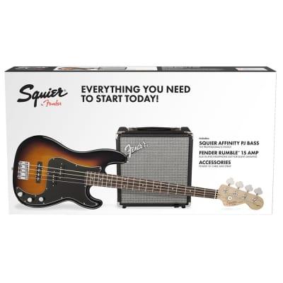Fender Affinity Precision Bass PJ Pack Gig Bag Rumble 15 Amp Brown Sunburst
